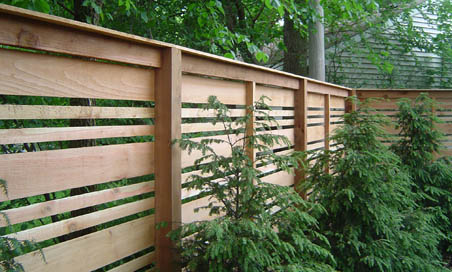 horisontal cedar fence installation